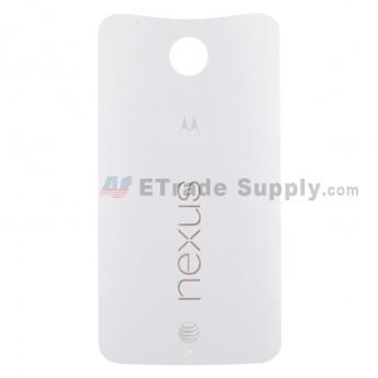 For Motorola Nexus 6 Battery Door Replacement - White - With Logo - Grade S+