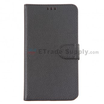 For Motorola Nexus 6 Lichee Pattern Leather Case - Black - Grade R