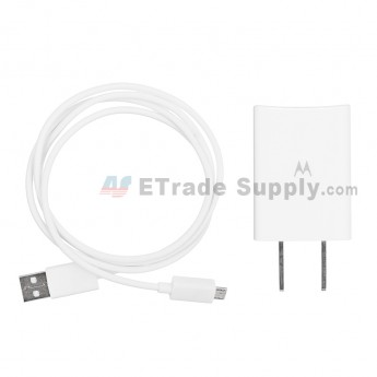 For Motorola Adapter (US Plug) and USB Data Cable Replacement - White - Grade S+