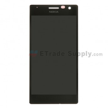 For Nokia Lumia 730 Dual SIM LCD Screen and Digitizer Assembly Replacement - Black - With Logo - Grade S+