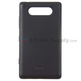 For Nokia Lumia 820 Battery Door with Wireless Charging Coil Replacement  - Black - With Logo - Grade S+