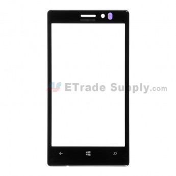 For Nokia Lumia 925 Glass Lens  Replacement - Black - With Logo - Grade S+