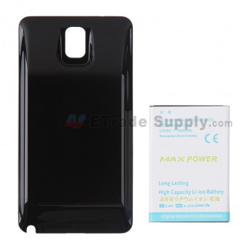 For Samsung Galaxy Note 3 Series Extended Life Battery with Over-sized Battery Door Replacement (7800 mAh) - Black - Grade R