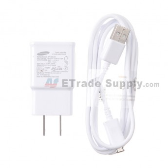For Samsung Galaxy Note 4 Series Adapter and USB Data Cable Replacement (US Plug) - White - Grade S+