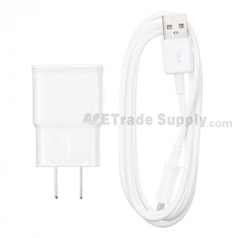 For Samsung Galaxy S4 GT-I9500/I9505/I545/L720/R970/I337/M919/I9502 Adapter and USB Data Cable Replacement - White - Grade S+