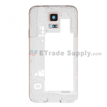 For Samsung Galaxy S5 SM-G900H Rear Housing Replacement - Gold - White Ear Speaker Mesh Cover - Grade S+