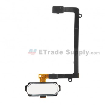 For Samsung Galaxy S6 Edge SM-G925V/G925P/G925R4/G925T/G925W8/G925I/G925F/G925A Home Button With Flex Cable Ribbon Replacement - White - Grade S+