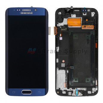 For Samsung Galaxy S6 Edge SM-G925A LCD Screen and Digitizer Assembly with Front Housing Replacement - Sapphire - With Logo - Grade S+