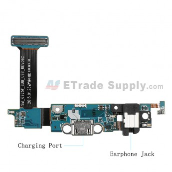 For Samsung Galaxy S6 Edge SM-G925F Charging Port Flex Cable Ribbon with Earphone Jack Replacement - Grade S+