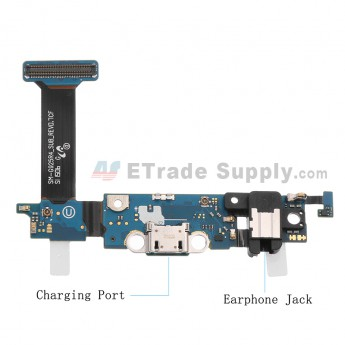 For Samsung Galaxy S6 Edge SM-G925R4 Charging Port Flex Cable Ribbon with Earphone Jack Replacement - Grade S+