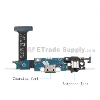 For Samsung Galaxy S6 Edge SM-G925T Charging Port Flex Cable Ribbon with Earphone Jack Replacement - Grade S+