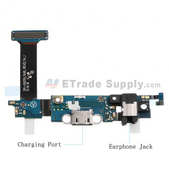 For Samsung Galaxy S6 Edge SM-G925V Charging Port Flex Cable Ribbon with Earphone Jack Replacement - Grade S+