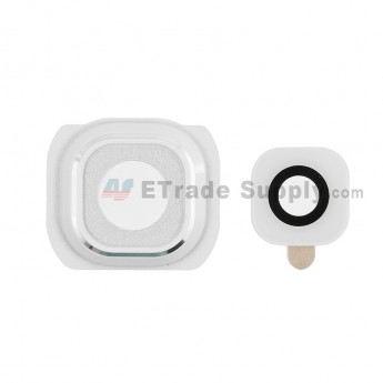 For Samsung Galaxy S6 Series Camera Lens and Bezel Replacement - White - Grade S+