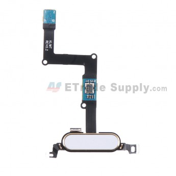 For Samsung Galaxy Tab S 8.4 SM-T700 Home Button with Flex Cable Ribbon Replacement - White - Grade S+