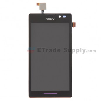 For Sony Xperia C S39h LCD Screen and Digitizer Assembly with Front Housing Replacement - Black - Grade S+