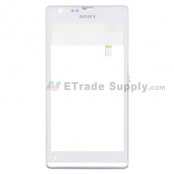 For Sony Xperia SP M35h Digitizer Touch Screen with Front Housing  Replacement - White - with Logo - Grade S+
