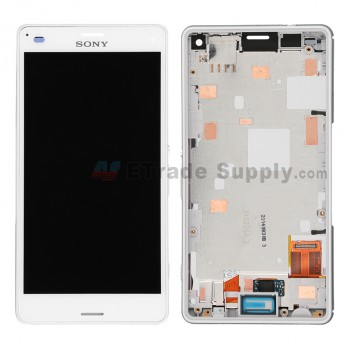 For Sony Xperia Z3 Compact LCD Screen and Digitizer Assembly with Front Housing  Replacement - White - Sony Logo - Grade S+
