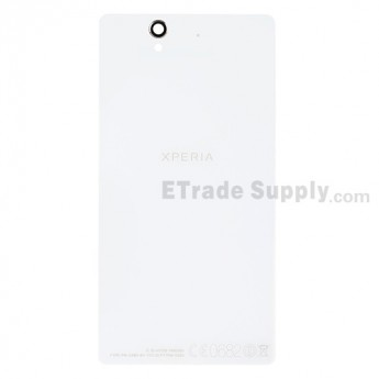 For Sony Xperia Z L36h Battery Door Replacement - White - With Logo - Grade R