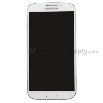 For Samsung Galaxy S4 SGH-M919/SGH-I337 LCD Screen and Digitizer Assembly with Front Housing Replacement - White - With Logo - Grade S