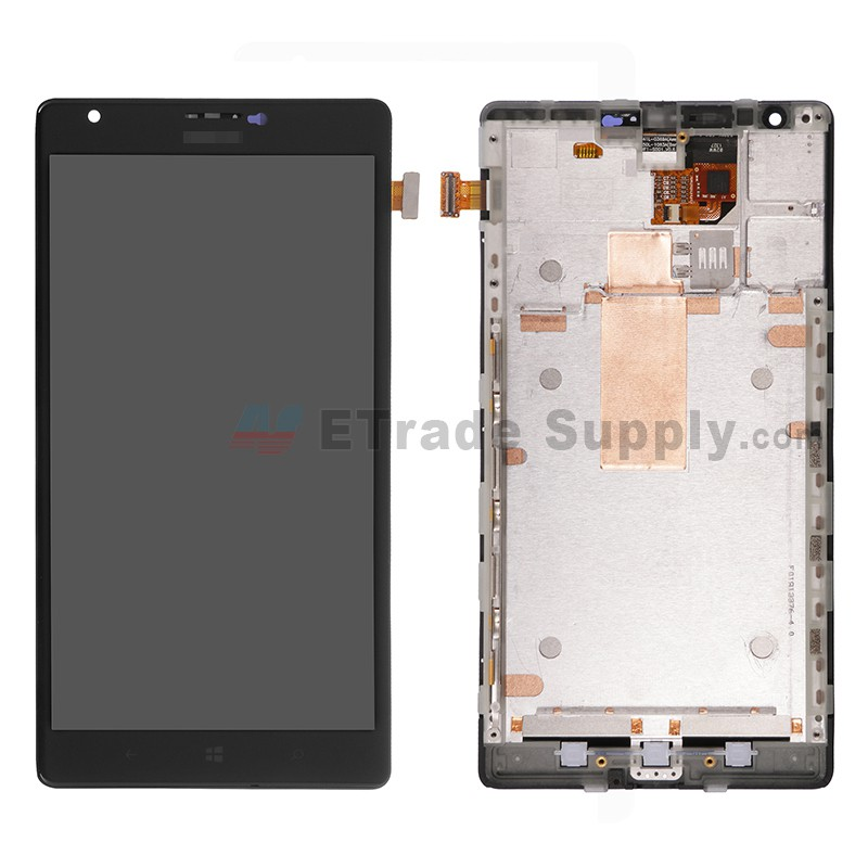 For Nokia Lumia 1520 LCD Screen and Digitizer Assembly with Front Housing  Replacement - Black - With Logo - Grade S+