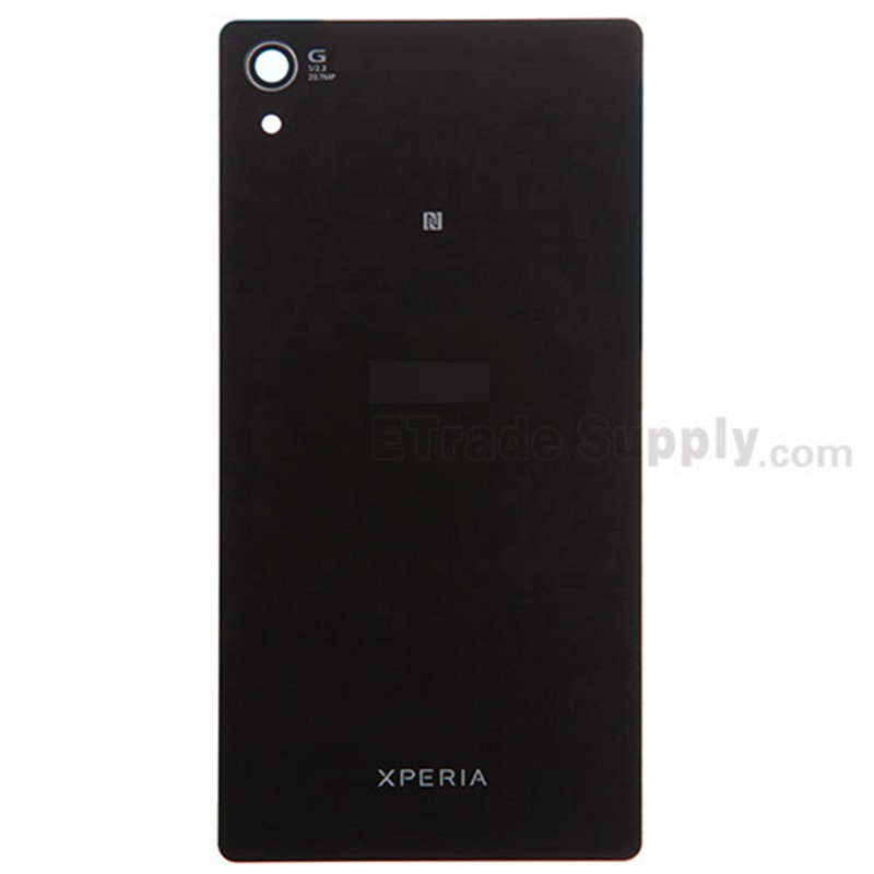 sale retailer 311d6 a0dd9 For Sony Xperia Z2 Battery Door Replacement - Black - With Logo - Grade S+