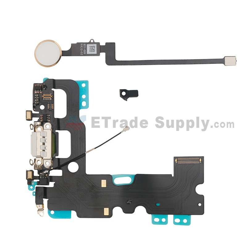 reputable site e1ba7 f7bdc For Apple iPhone 7 Charging Port Flex Cable Ribbon with Home Button  Replacement (With Back Function) - White - Grade R