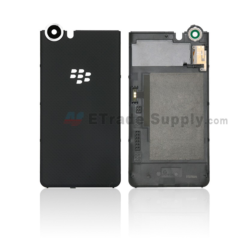 brand new 1cbf3 e9768 For Blackberry KEYone Battery Door with Rear Facing Camera Lens Replacement  - Black - Without Logo - Grade S+