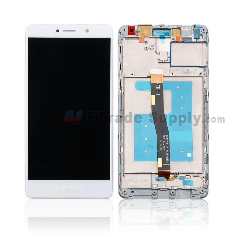 For Huawei Honor 6X LCD Screen and Digitizer Assembly with Front Housing  Replacement (Standard Version) - White- With Logo - Grade S+