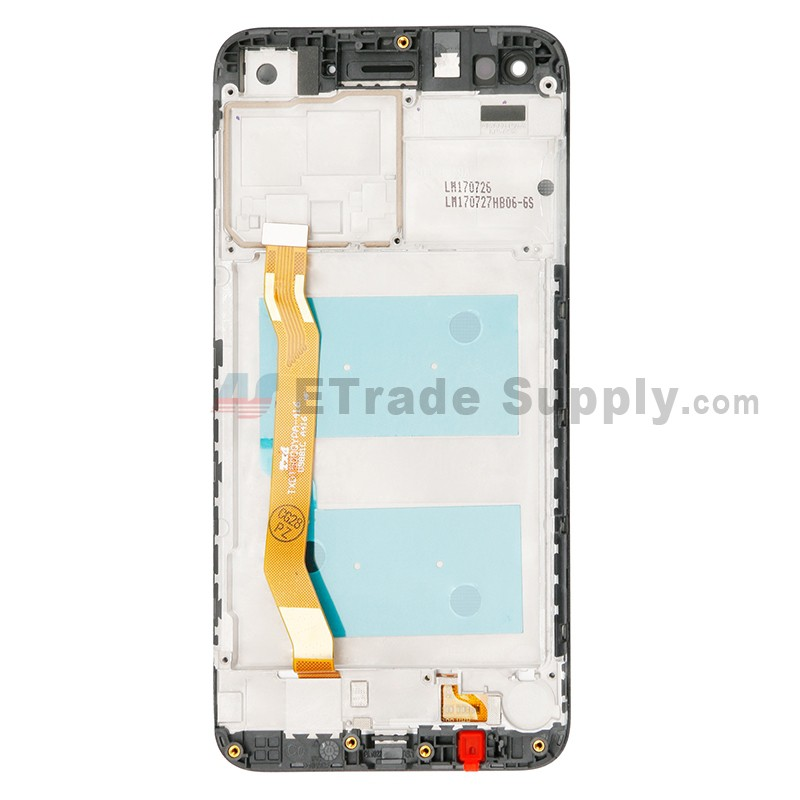 For Huawei Y7 2017 LCD Screen and Digitizer Assembly with Front Housing  Replacement - Black - With Logo - Grade S+