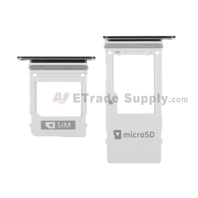 For Samsung Galaxy A8 (2018) SM-A530 SIM Card Tray (Micro-SIM Card +  Nano-SIM Card) Replacement - Black - Grade S+