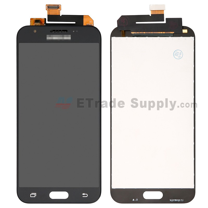 For Samsung Galaxy J3 (2017) SM-J327 LCD Screen and Digitizer Assembly  Replacement - Black - With Logo - Grade S+