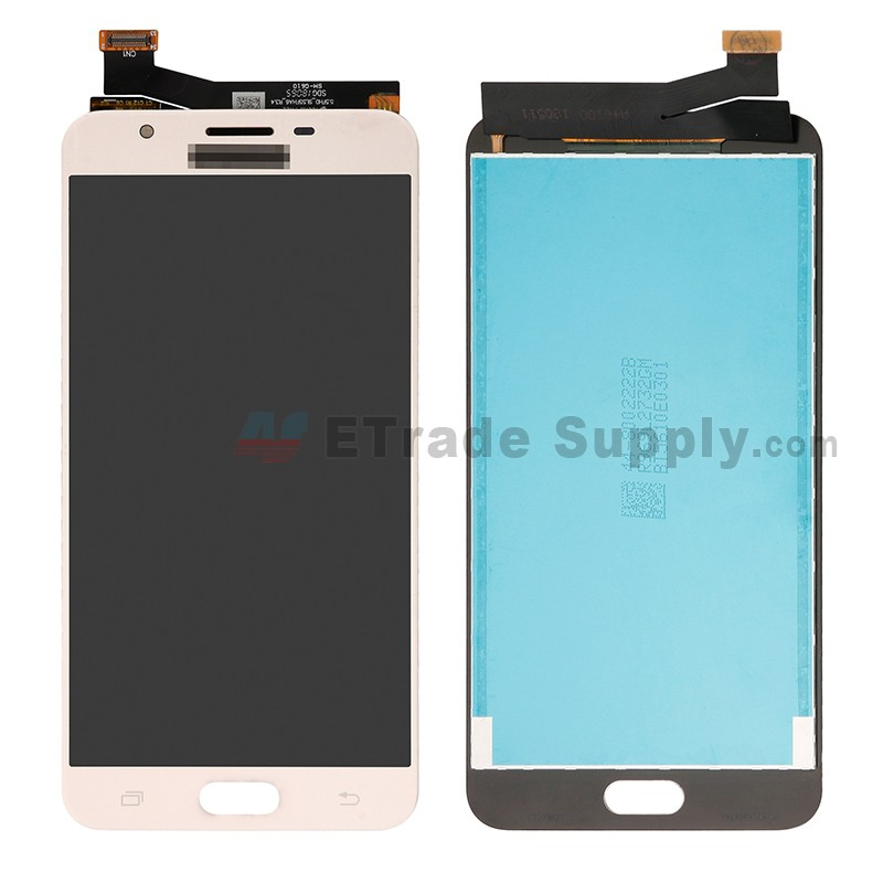 For Samsung Galaxy J7 Prime Sm G610 Lcd Screen And Digitizer Assembly Replacement Single Hole Version Gold With Logo Grade S