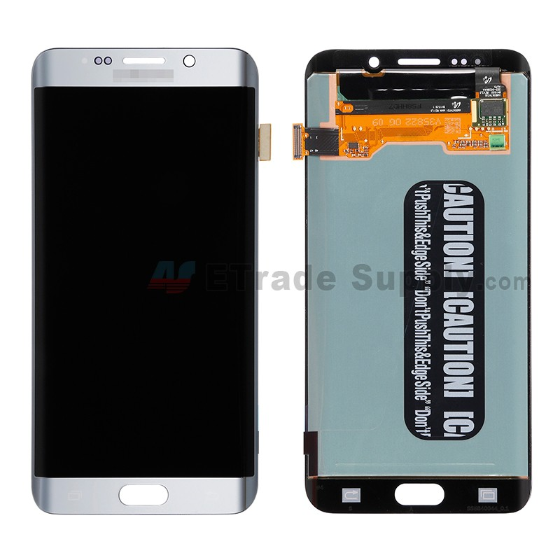 For Samsung Galaxy S6 Edge+ SM-G928/G928A/G928P/G928V/G928T/G928F/G928R LCD  and Digitizer Assembly Replacement - Silver - With Logo - Grade S+