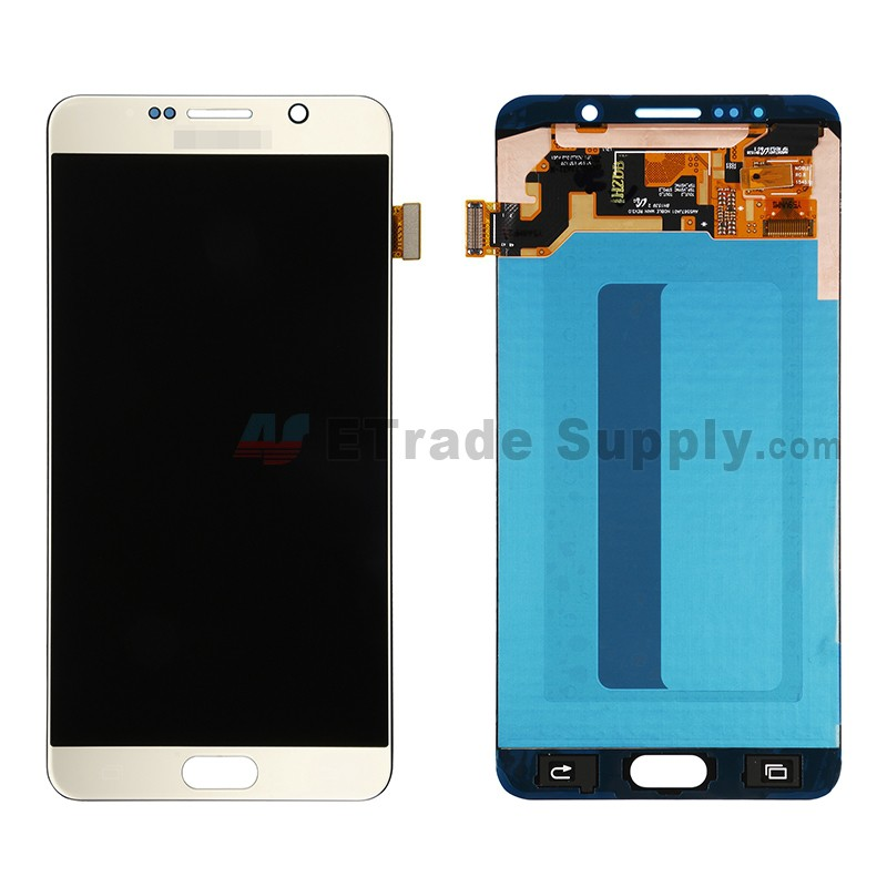 For Samsung Galaxy Note 5 N920F/N920T/N920A/N920P/N920V/N920R4/N920C LCD  and Digitizer Assembly with Stylus Sensor Film Replacement - Gold - With  Logo