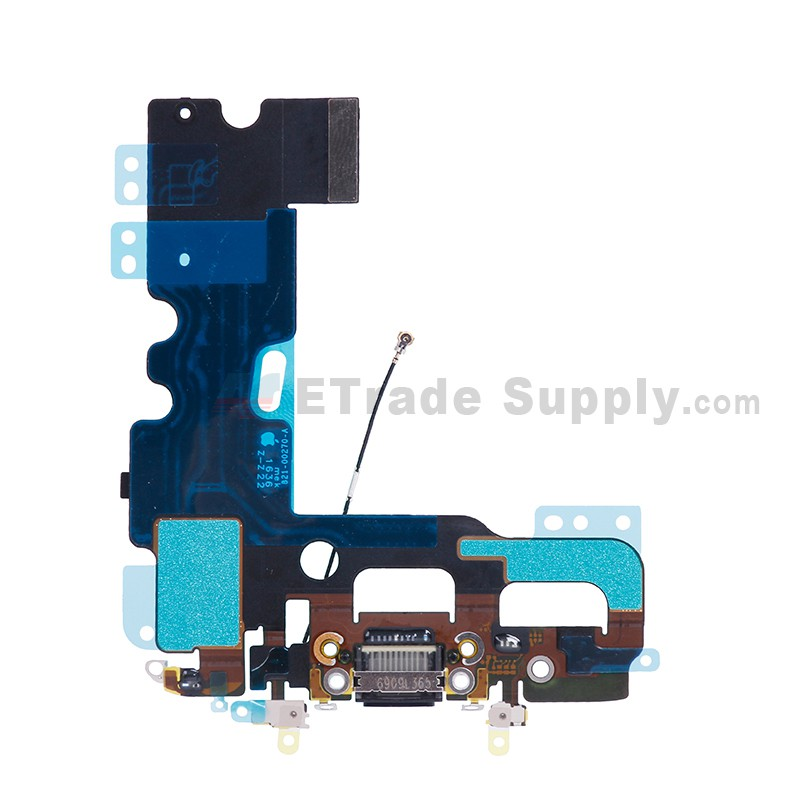 buy online c3398 2f375 For Apple iPhone 7 Charging Port Flex Cable Ribbon Replacement - Black -  Grade S+