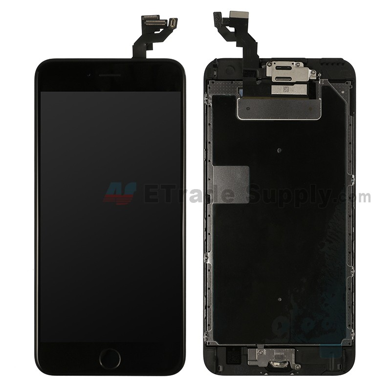 lowest price d8175 bc84c For Apple iPhone 6S Plus LCD Screen and Digitizer Assembly with Frame and  Home Button Replacement - Black - Grade R
