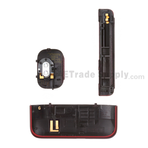 For HTC Inspire 4G Battery Door and Bottom Cover & Camera Flash Cover Kit  Replacement - Red - Grade S+