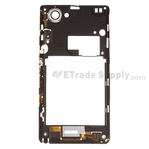 Sony xperia l s36h replacement parts etrade supply for sony xperia l s36h c2104 c2105 middle plate replacement black grade s reheart Choice Image