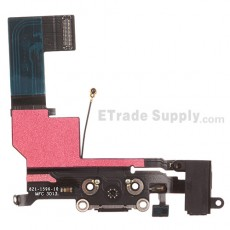 For Apple iPhone 5S Charging Port Flex Cable Ribbon Replacement - Black - Grade S+