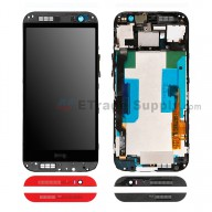 For HTC One M8 LCD Screen and Digitizer Assembly with Front Housing  Replacement - Red - With Logo - Grade S+