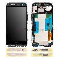For HTC One M8 LCD Screen and Digitizer Assembly with Front Housing Replacement - Gold - With Logo - Grade S+