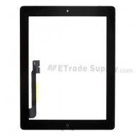 For Apple iPad 3 Digitizer Touch Screen Assembly Replacement (Wifi+Cellular) - Black - Grade S