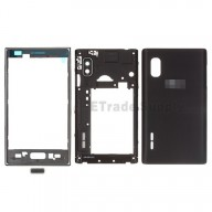 For LG Optimus L5 E610 Complete Housing  Replacement - Black - With Logo  - Grade S+