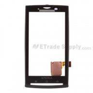 For Sony Ericsson Xperia X10 Digitizer Touch Screen with Front Housing Replacement - Black - Grade S+