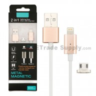 For iPhone And Android Metal Magentic 2 in 1 Micro USB Data Cable - Gold - Grade R