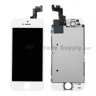 For Apple iPhone 5S LCD Screen and Digitizer Assembly with Frame and Small Parts Replacement (without Home Button) - White - Grade R