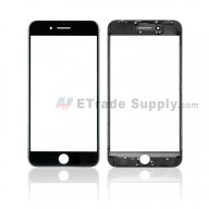 For Apple iPhone 8 Plus Glass Lens with Frame Replacement - Black - Grade S+