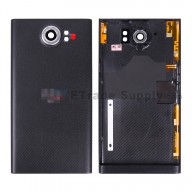 For BlackBerry Priv Battery Door Replacement - Black - With Logo - Grade S+
