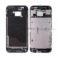 For HTC One M8S Front Housing without Top and Bottom Cover Replacement - Black - Grade S+