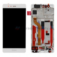 For Huawei P9 LCD and Digitizer Assembly with Front Housing Replacement - White - With Logo - Grade S+